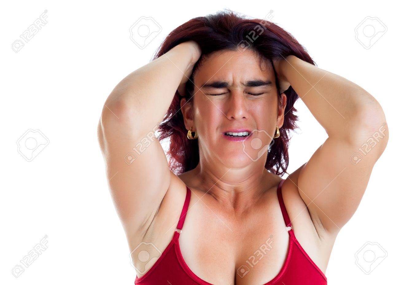 14429215-Desperate-donna-ispanica-soffre-di-mal-di-testa-o-depressione-isolato-su-bianco-Archivio-Fotografico